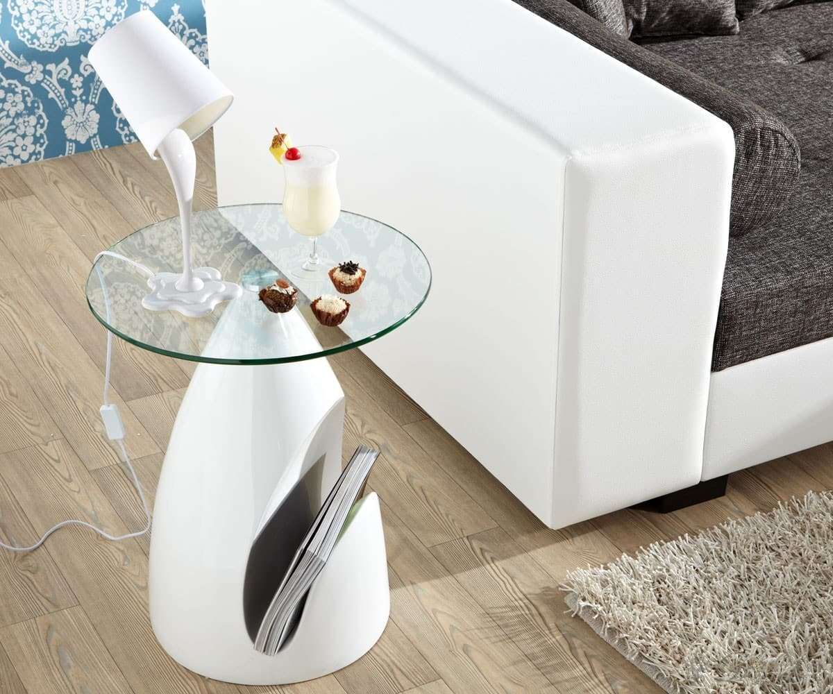 beistelltisch seta 50 cm hochglanz weiss glas couchtisch mit ablage ebay. Black Bedroom Furniture Sets. Home Design Ideas