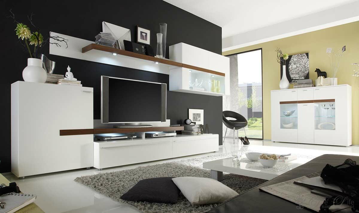 wei e wohnzimmerm bel wohnwand gelber couchtisch graue. Black Bedroom Furniture Sets. Home Design Ideas