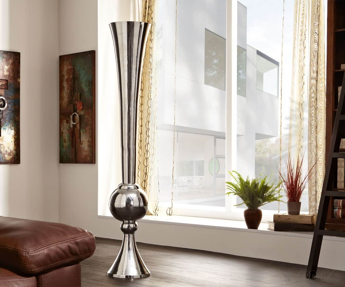 bodenvase pungi xxl 180cm aluminium poliert wohnaccessoire deko objekt vase ebay. Black Bedroom Furniture Sets. Home Design Ideas