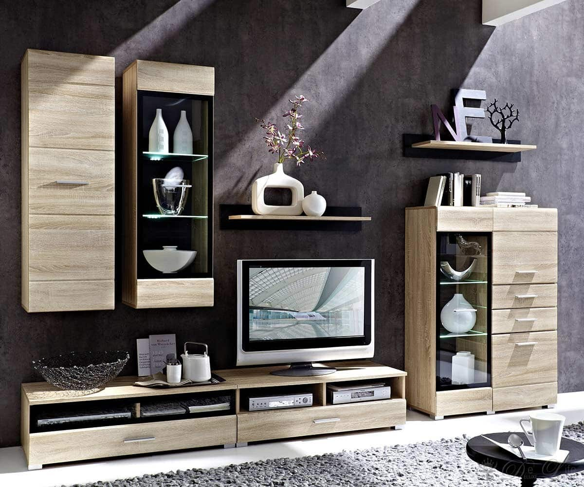 Sideboard Eiche Hell Preis : Wohnzimmer Lara Eiche Hell Wohnwand Sideboard Mit Beleuchtung 5758