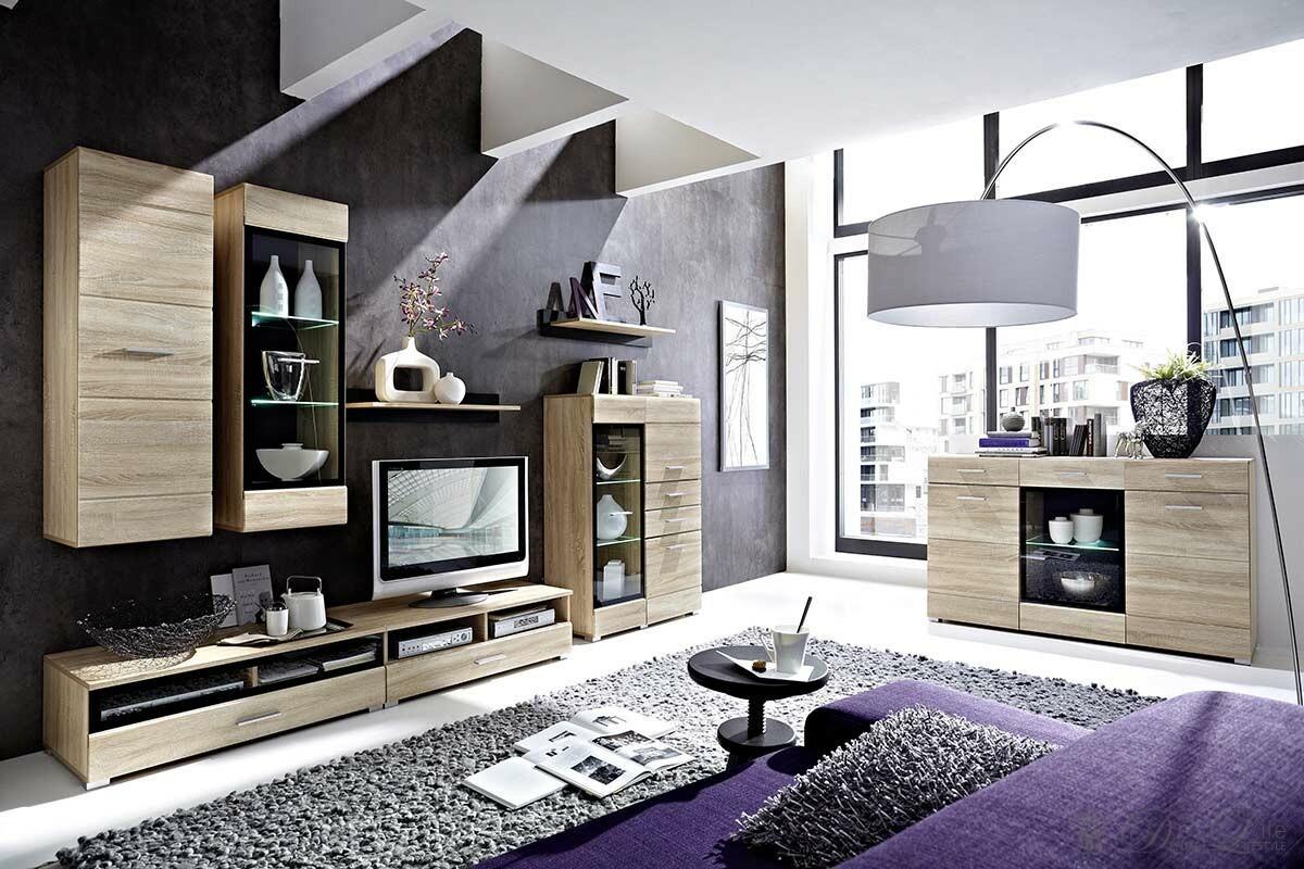 Wohnzimmer Lara Eiche Hell Dekor Wohnwand Sideboard Mit Beleuchtung