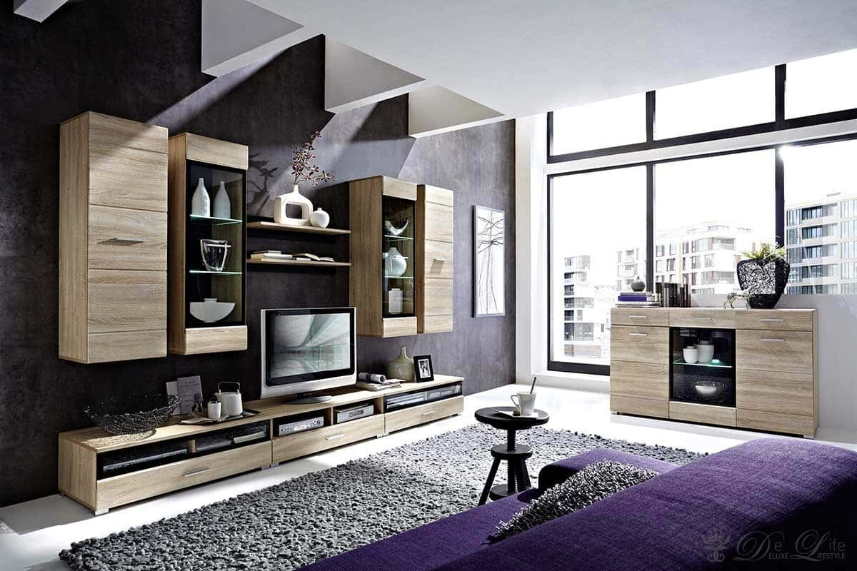 wohnzimmer lara eiche hell dekor wohnwand sideboard mit. Black Bedroom Furniture Sets. Home Design Ideas