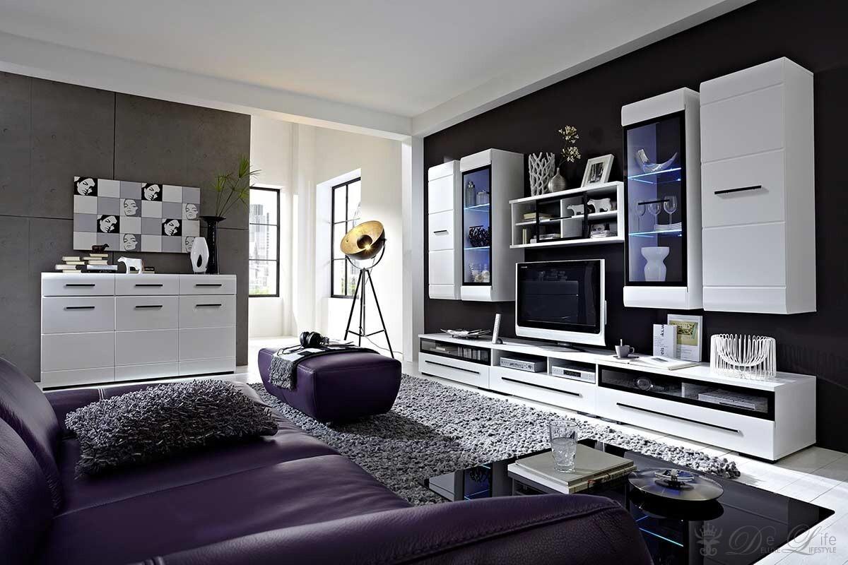 Wohnzimmer Linus 300x200cm Weiss Hochglanz Wohnwand + Kommode  eBay