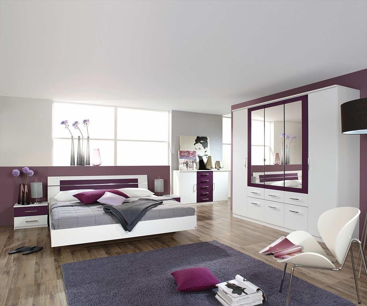 Schlafzimmer Arwen Weiss Brombeer Bett 180cm Kleiderschrank Kommode