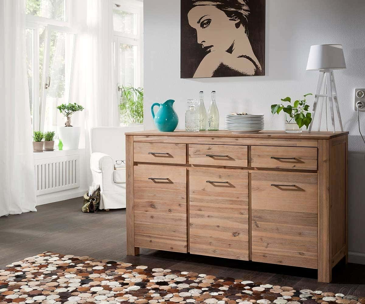 ventura kommode 150x90 akazie latte sideboard by wolf m bel ebay. Black Bedroom Furniture Sets. Home Design Ideas