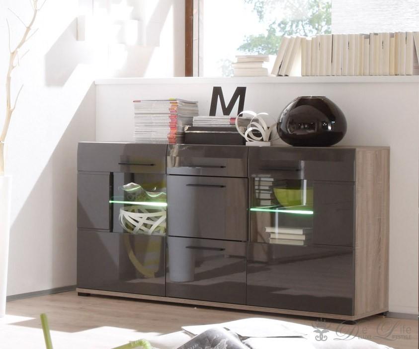 kommode taria eiche s gerau dunkel graubraun hochglanz inkl led ebay. Black Bedroom Furniture Sets. Home Design Ideas