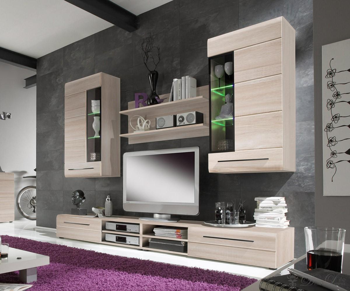 wohnwand clarissa 245cm eiche s gerau hell schrankwand mit. Black Bedroom Furniture Sets. Home Design Ideas