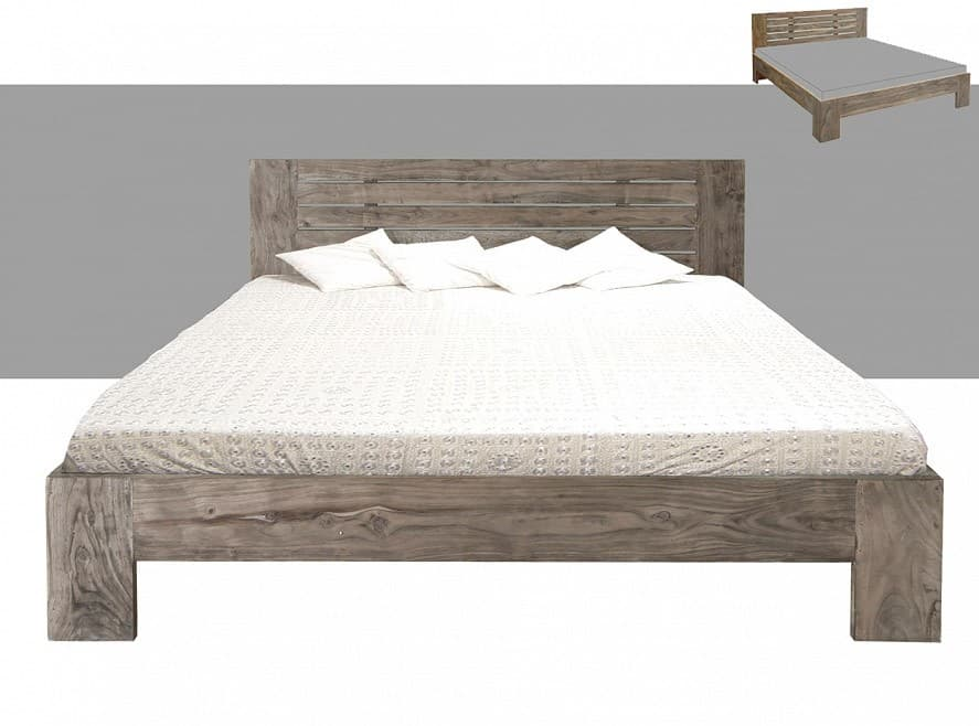 guru bett 180x200cm akazie sand holzbett by wolf m bel ebay. Black Bedroom Furniture Sets. Home Design Ideas
