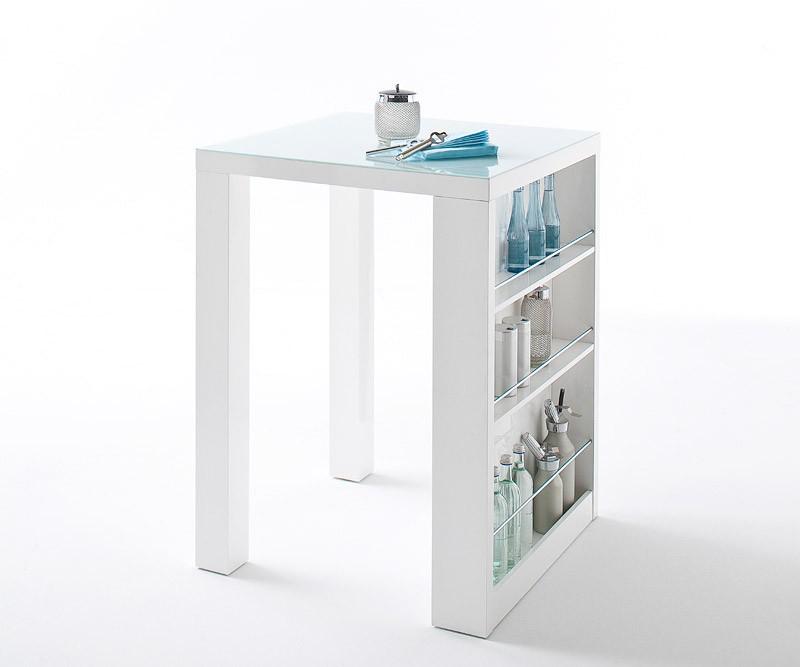 bartisch kyle 80x110cm weiss hochglanz glasplatte bar ebay. Black Bedroom Furniture Sets. Home Design Ideas