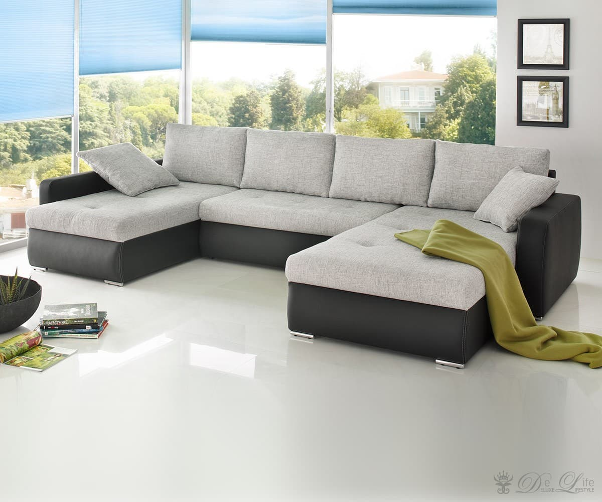 sofa hekate 335x200 grau schwarz wohnlandschaft ecksofa schlafsofa ebay. Black Bedroom Furniture Sets. Home Design Ideas