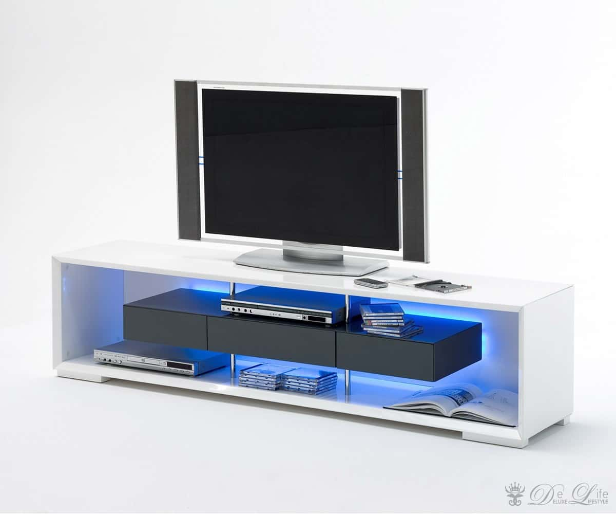 lowboard rhea 150x45cm weiss hochglanz grau tv board tv m bel mit led ebay. Black Bedroom Furniture Sets. Home Design Ideas