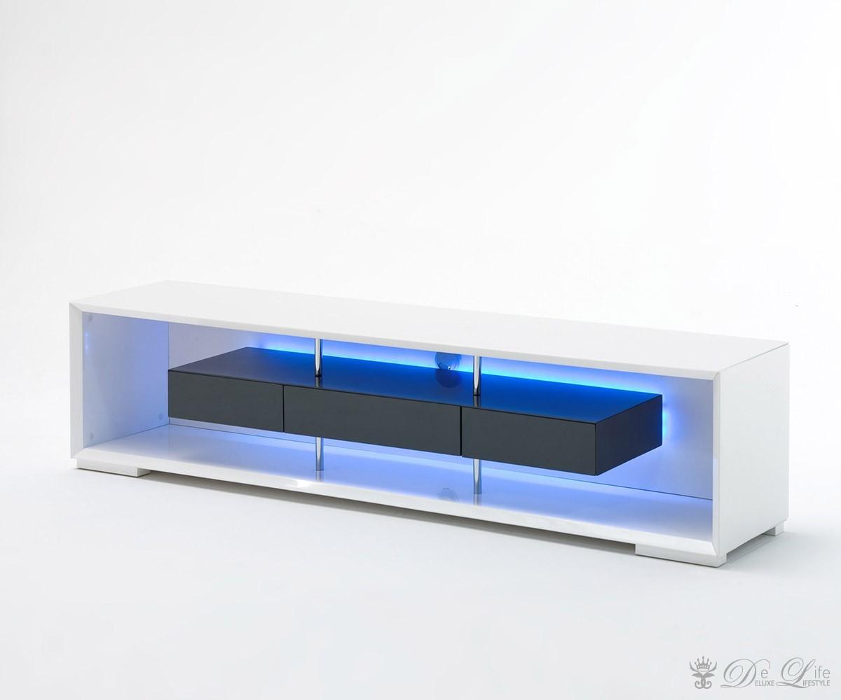 Tv lowboard hängend led  Lowboard Rhea 150x45cm Weiss Hochglanz Grau TV Board TV Möbel mit ...