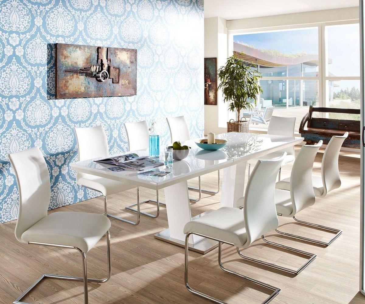 esstisch wei hochglanz glas. Black Bedroom Furniture Sets. Home Design Ideas