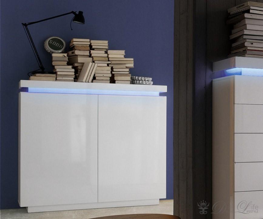 kommode jamie 120x115cm weiss hochglanz sideboard mit. Black Bedroom Furniture Sets. Home Design Ideas