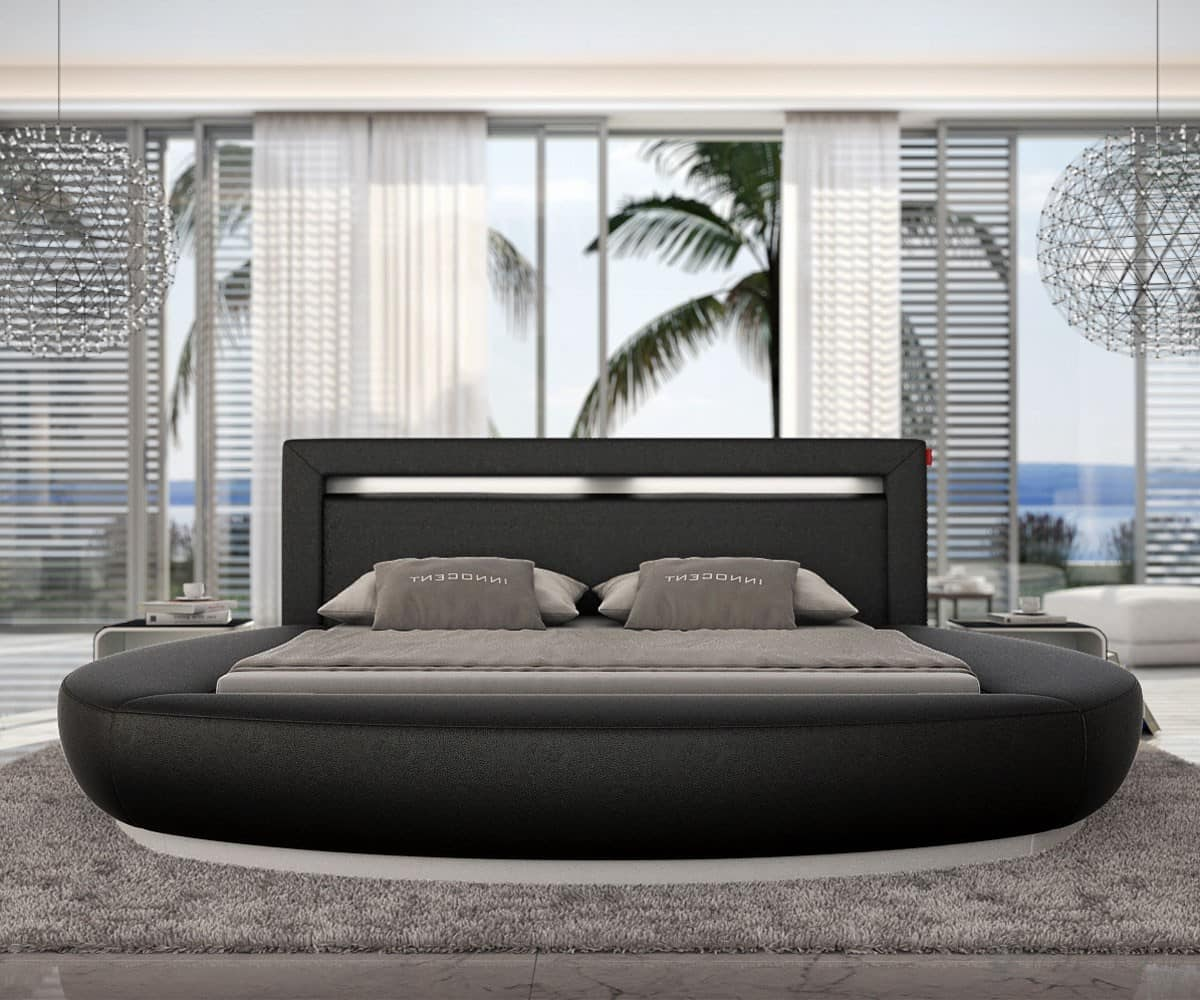 rundbett jerome 140x200 cm schwarz polsterbett mit beleuchtung design bett neu ebay. Black Bedroom Furniture Sets. Home Design Ideas
