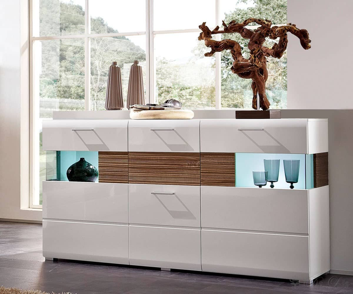 sideboard stafford 165x95cm weiss sonoma eiche dunkel kommode 3 t ren anrichte ebay. Black Bedroom Furniture Sets. Home Design Ideas