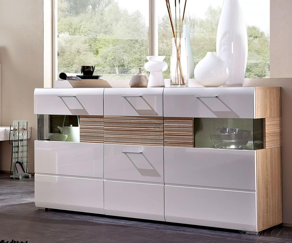 sideboard stafford 165x95cm weiss sonoma eiche hell kommode 3 t ren anrichte ebay. Black Bedroom Furniture Sets. Home Design Ideas
