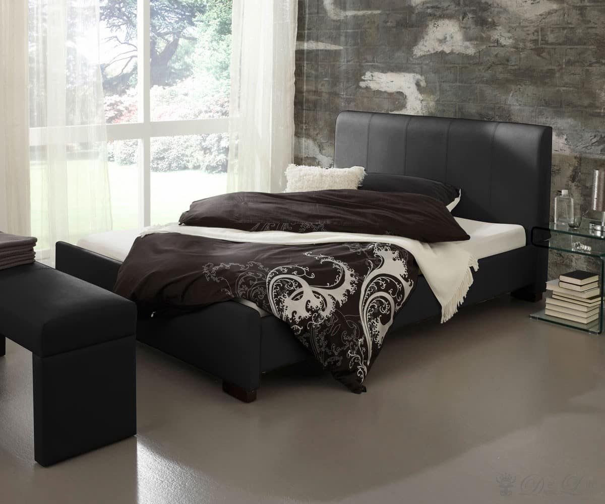 polsterbett milano 140x200 cm schwarz schlafzimmerm bel bett 140 cm ebay. Black Bedroom Furniture Sets. Home Design Ideas