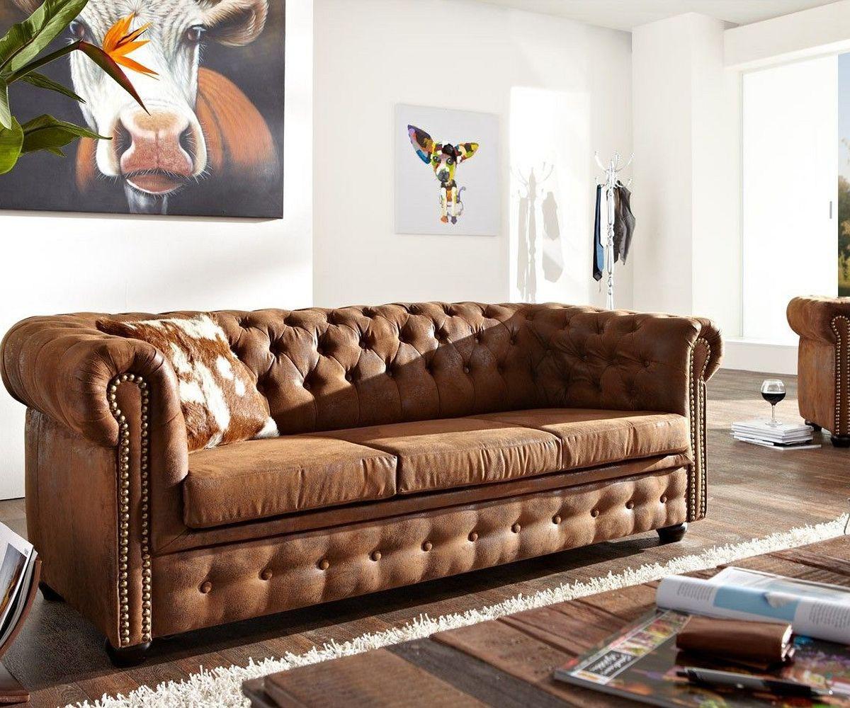 sofa chesterfield 200x92 cm braun 3 sitzer m bel sofas chesterfields. Black Bedroom Furniture Sets. Home Design Ideas