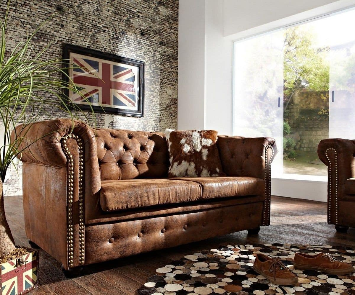 sofa chesterfield 160x92 cm braun antik optik 2 sitzer m bel sofas chesterfields. Black Bedroom Furniture Sets. Home Design Ideas