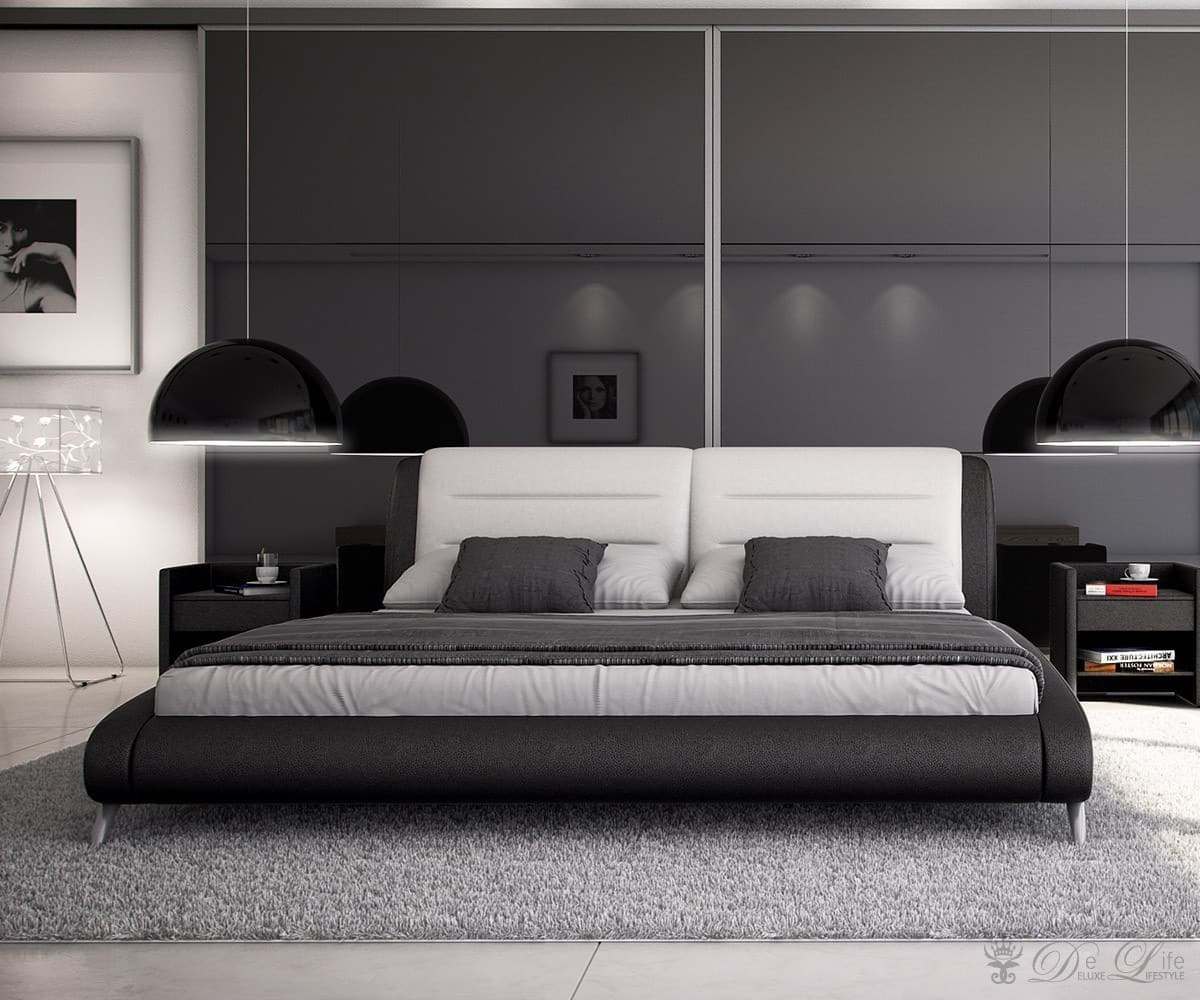 polsterbett tamino 180x200 schwarz weiss schlafzimmerm bel bett 180cm. Black Bedroom Furniture Sets. Home Design Ideas
