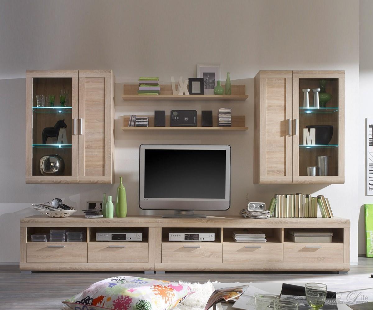 wohnwand vigga 310cm sonoma eiche anbauwand schrankwand mit beleuchtung ebay. Black Bedroom Furniture Sets. Home Design Ideas