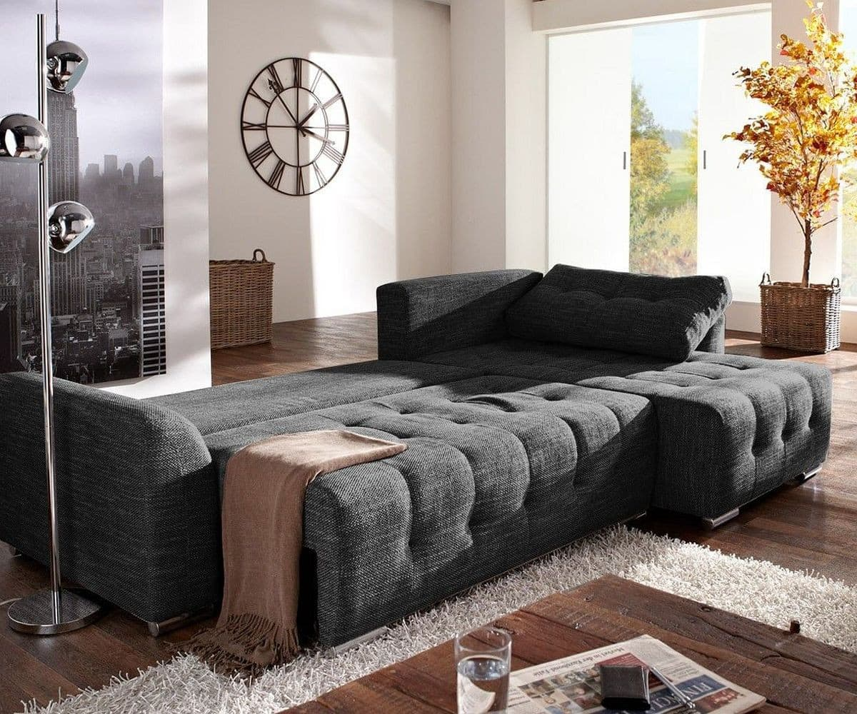 ledercouch schwarz mit schlaffunktion. Black Bedroom Furniture Sets. Home Design Ideas