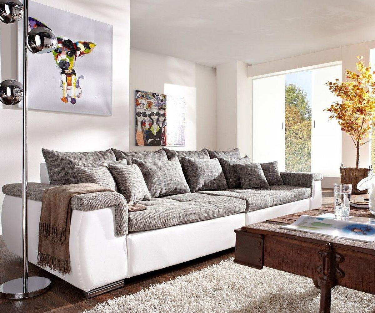 sofa navin 275x116 cm hellgrau weiss couch mit kissen m bel sofas big sofas. Black Bedroom Furniture Sets. Home Design Ideas
