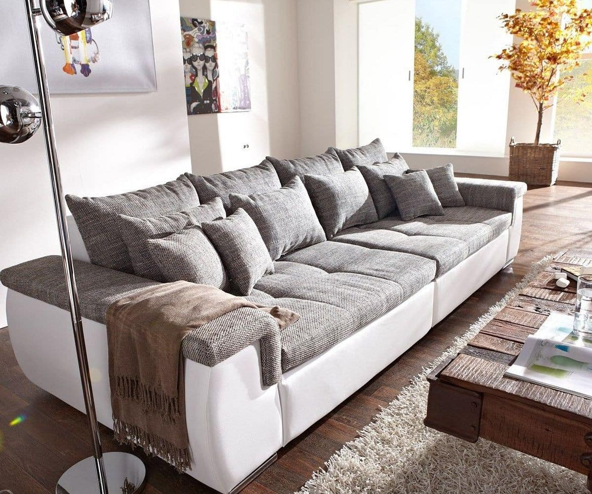 sofa navin 275x116 cm hellgrau weiss couch mit kissen m bel sofas big sofas. Black Bedroom Furniture Sets. Home Design Ideas