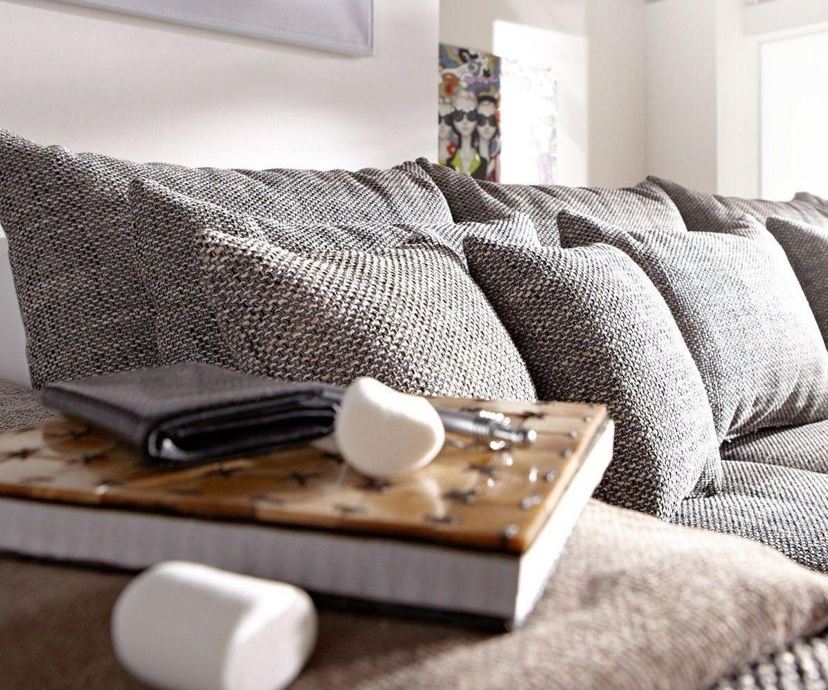 sofa navin 275x116 cm hellgrau weiss couch mit kissen. Black Bedroom Furniture Sets. Home Design Ideas
