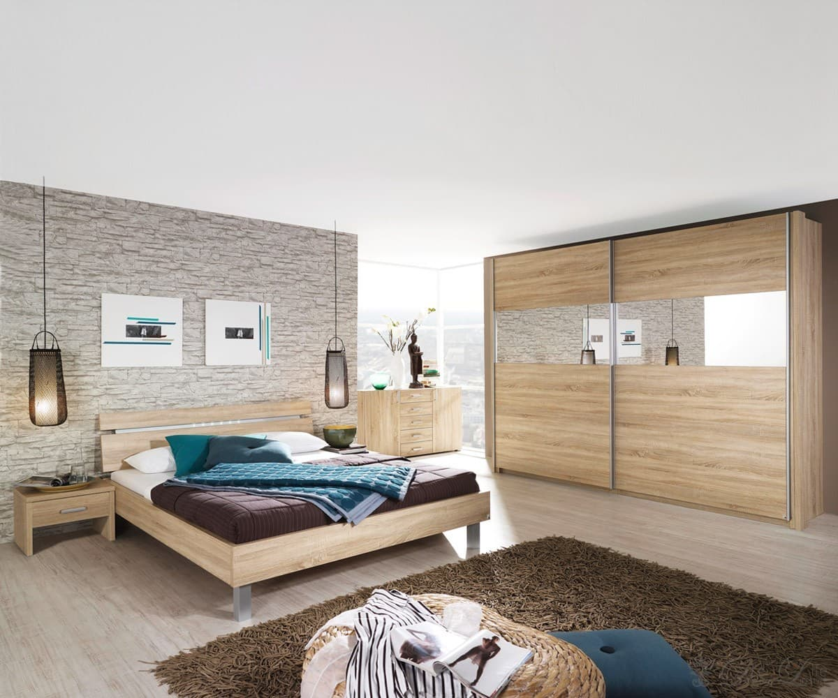 schlafzimmer virginia eiche bett 180x200 schrank kommode. Black Bedroom Furniture Sets. Home Design Ideas
