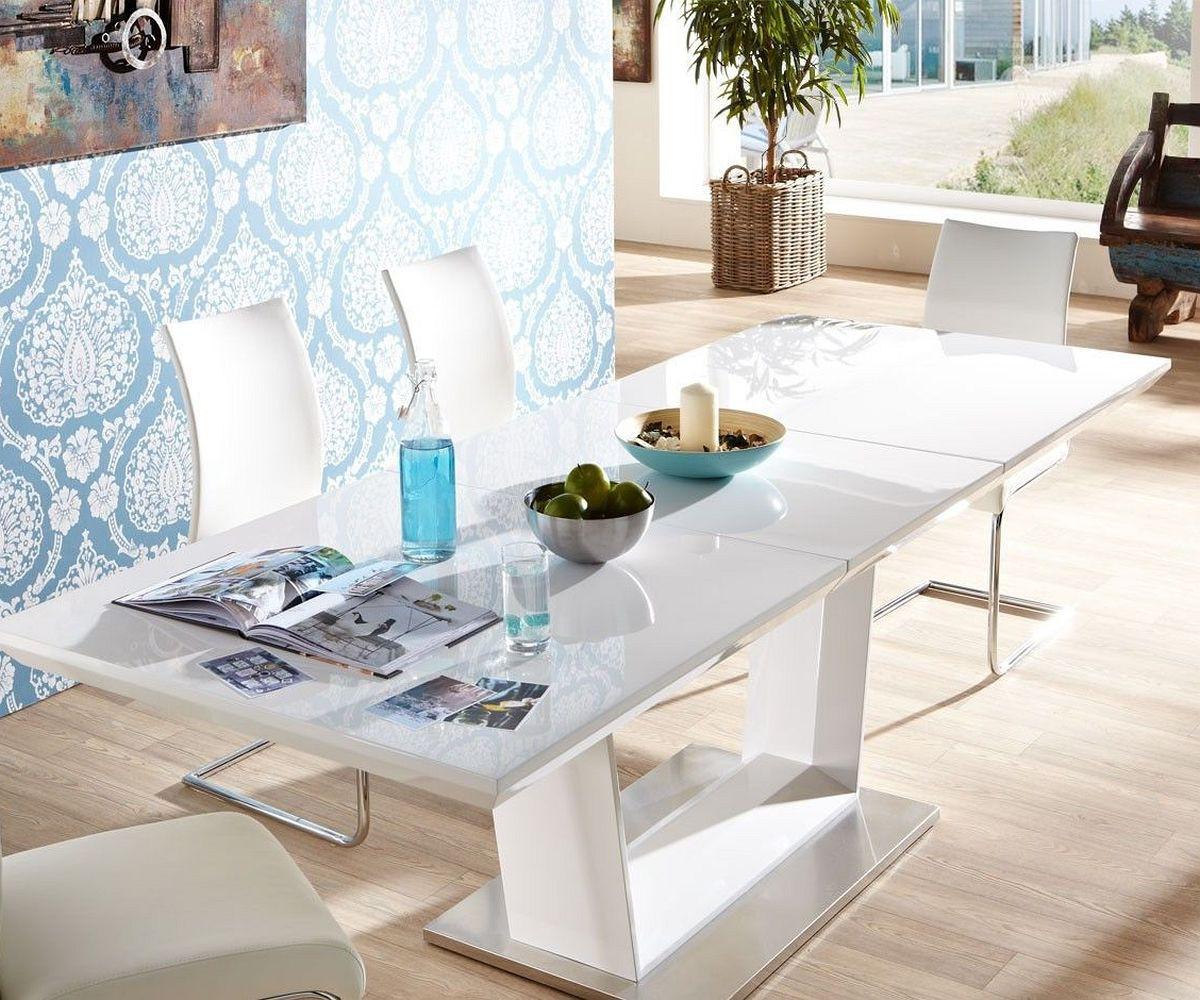 esstisch weiss edelstahl innenr ume und m bel ideen. Black Bedroom Furniture Sets. Home Design Ideas