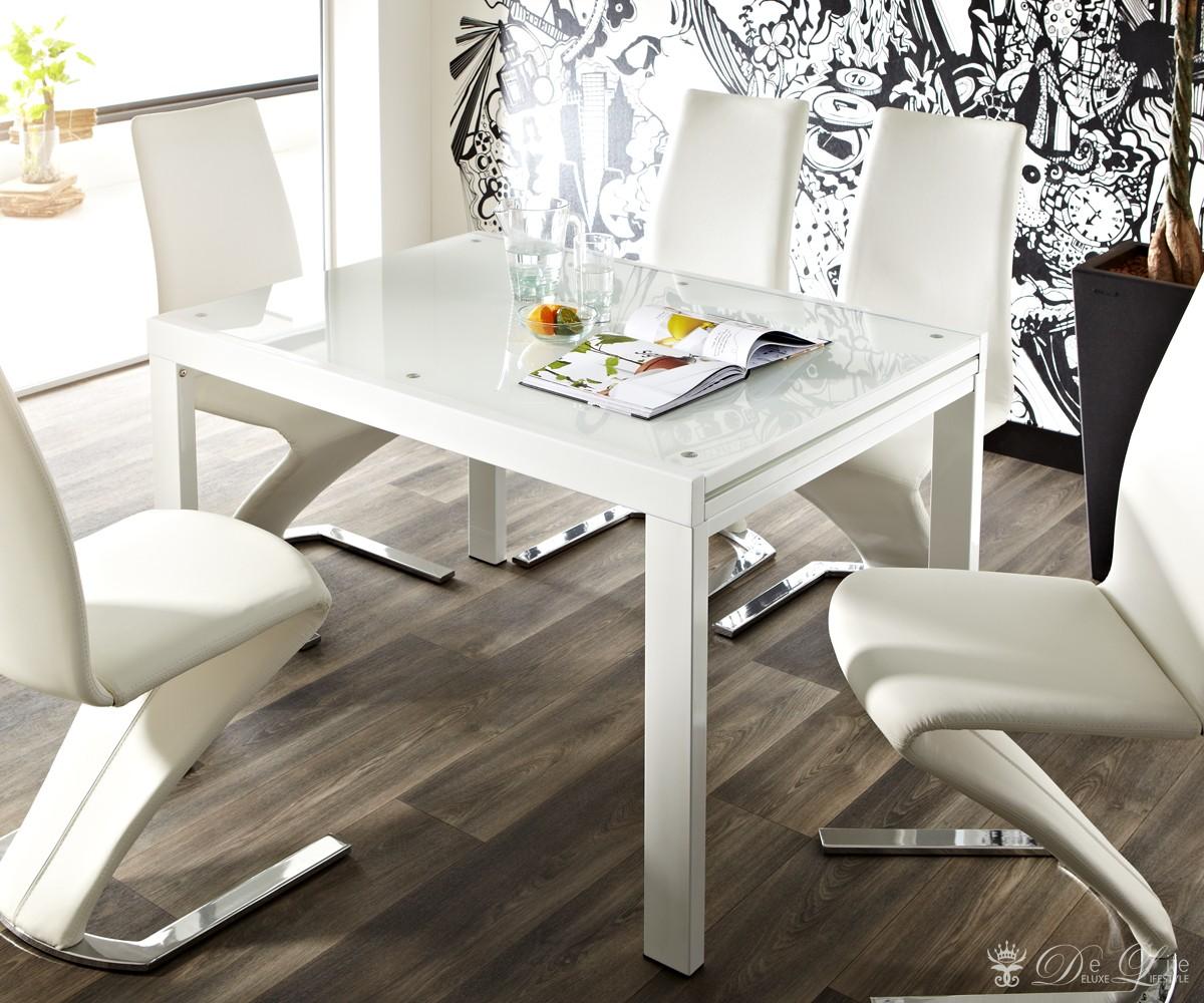 esstisch yuna 120 240x90cm weiss hg ausziehtisch mit glasplatte tisch esstische ebay. Black Bedroom Furniture Sets. Home Design Ideas