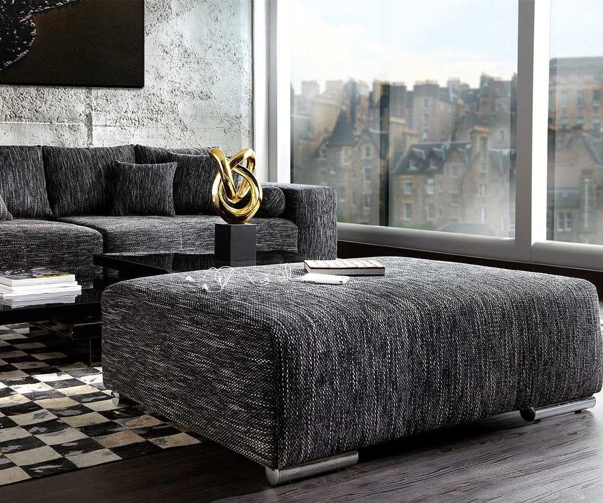 big sofa xxl marbeya 290x110 schwarz mit hocker m bel. Black Bedroom Furniture Sets. Home Design Ideas