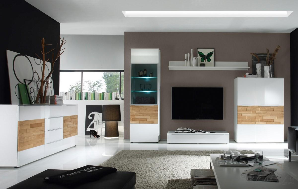 Wohnzimmer Elion Weiss Eiche Wohnwand 310cm + Kommode Wohnzimmereinrichtung NEU  eBay