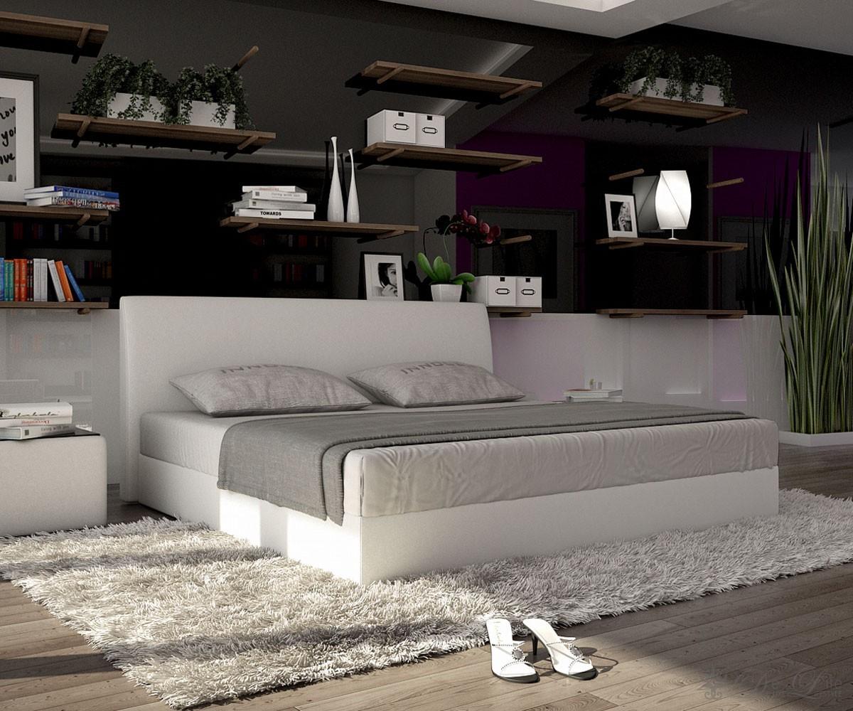 komplettbett lemar 140x200cm weiss design bett inkl matratze komplett bett 140cm ebay. Black Bedroom Furniture Sets. Home Design Ideas
