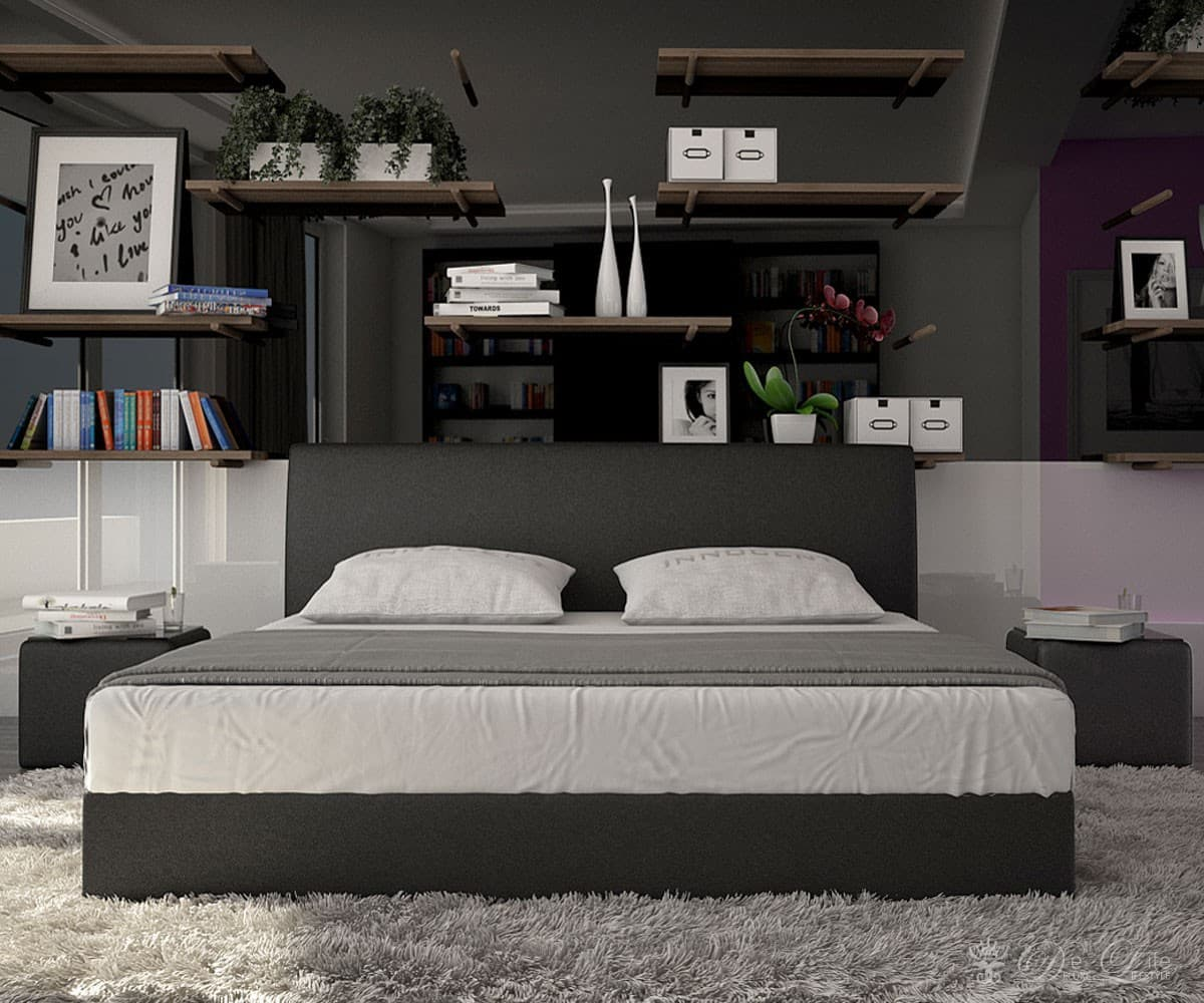 komplettbett lemar 140x200cm schwarz design bett mit matratze komplett bett 140 ebay. Black Bedroom Furniture Sets. Home Design Ideas