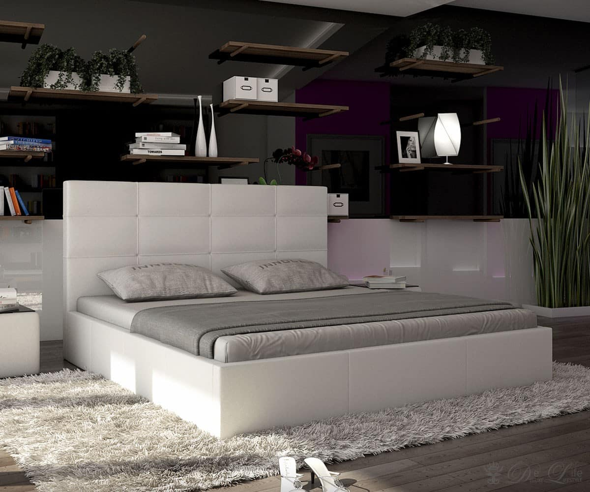polsterbett shane 140x200cm weiss schlafzimmerm bel bett 140cm design bett ebay. Black Bedroom Furniture Sets. Home Design Ideas