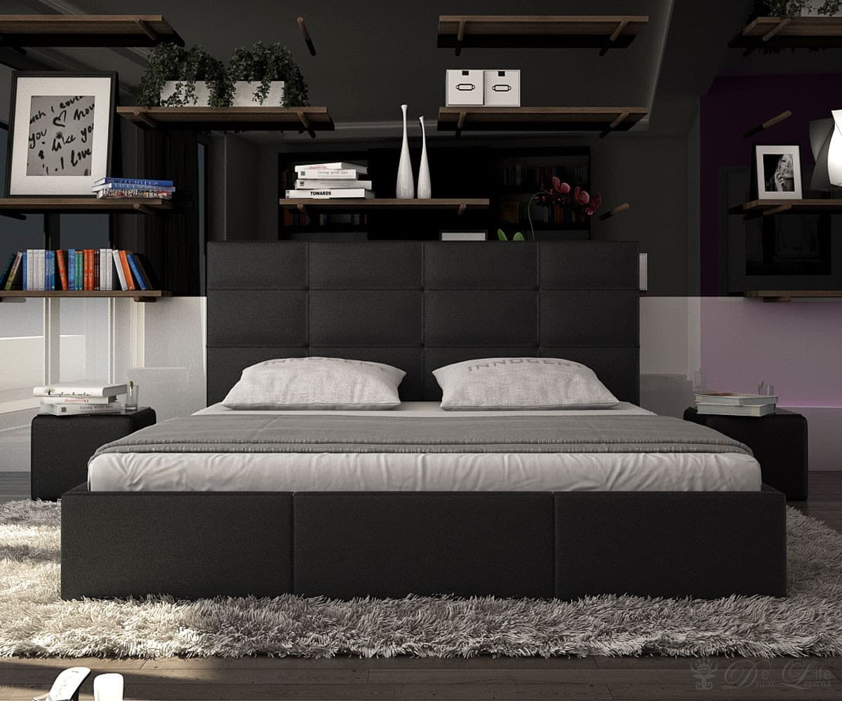 pin design bett rimini schwarz 140 x 200cm knopfsteppung. Black Bedroom Furniture Sets. Home Design Ideas