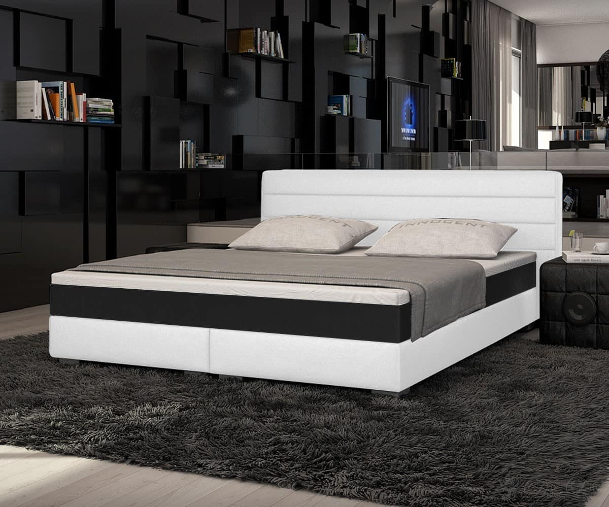 bett sirena weiss 180x200 cm boxspringbett mit topper und matratze ebay. Black Bedroom Furniture Sets. Home Design Ideas