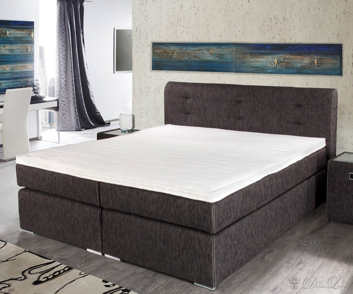 boxspringbett elwin 180x200cm braun bett mit matratze und topper doppelbett neu ebay. Black Bedroom Furniture Sets. Home Design Ideas