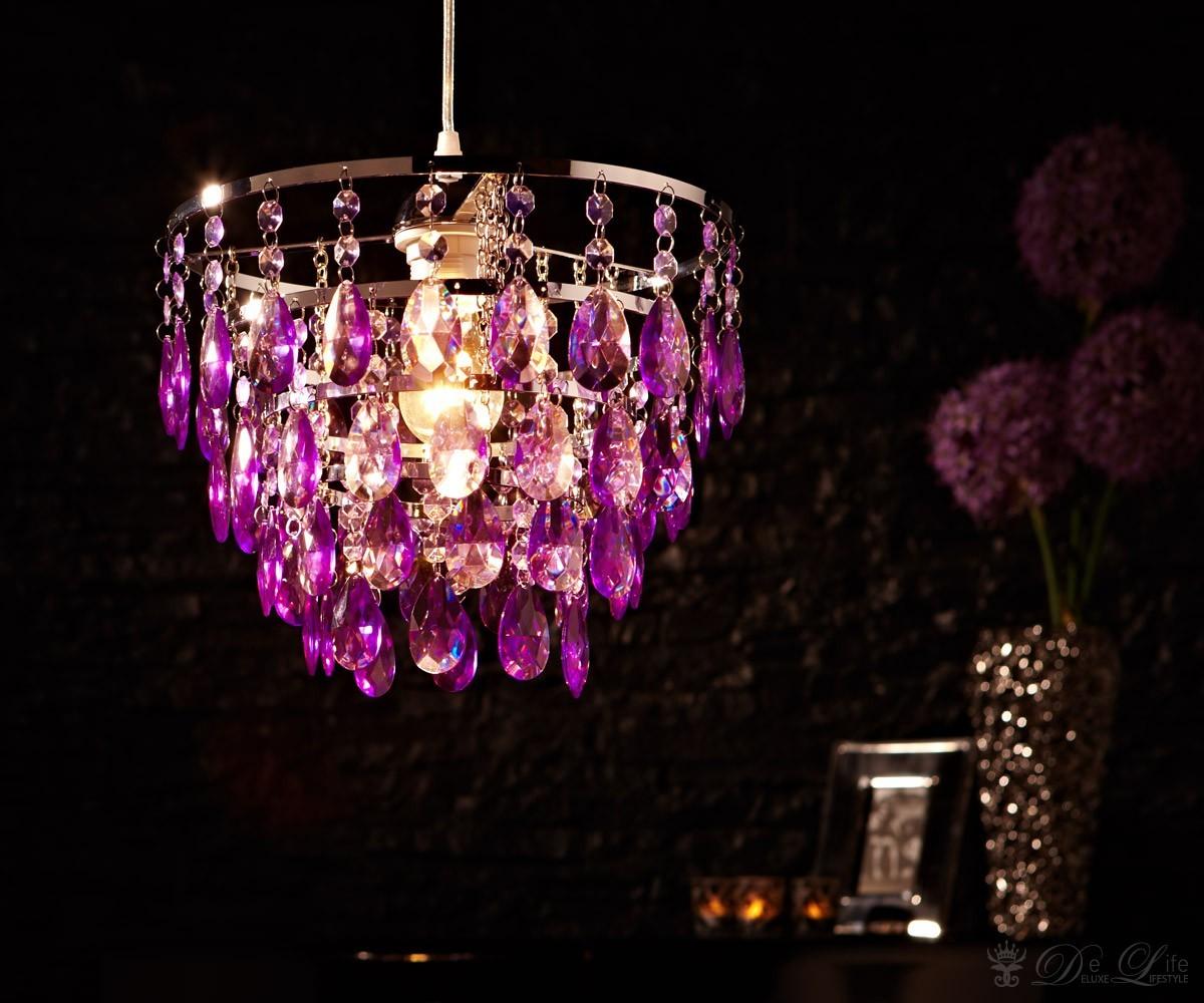Deckenleuchte Cesaro Violett Deckenlampe Mit Acryl Kristallen Haengeleuchte