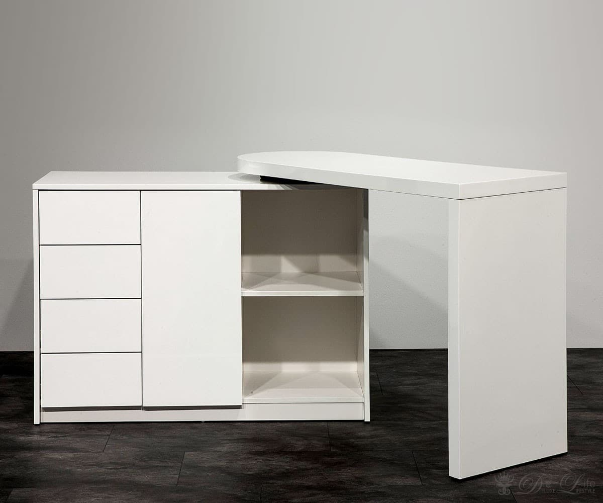 schreibtisch fionn weiss hochglanz b rotisch mit schrank arbeitstisch ebay. Black Bedroom Furniture Sets. Home Design Ideas
