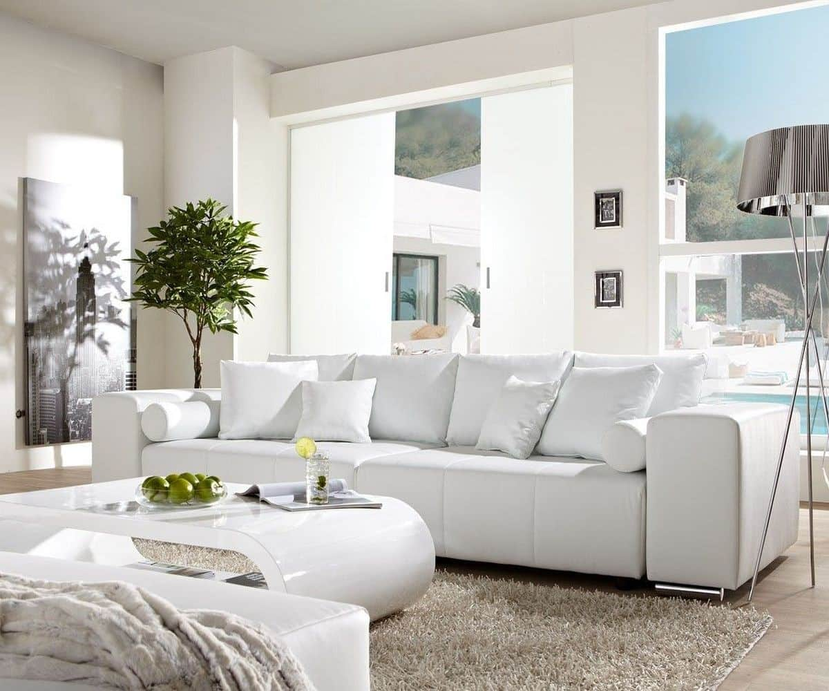 Big-Sofa Marbeya 290x110cm Weiss mit Schlaffunktion Möbel ...