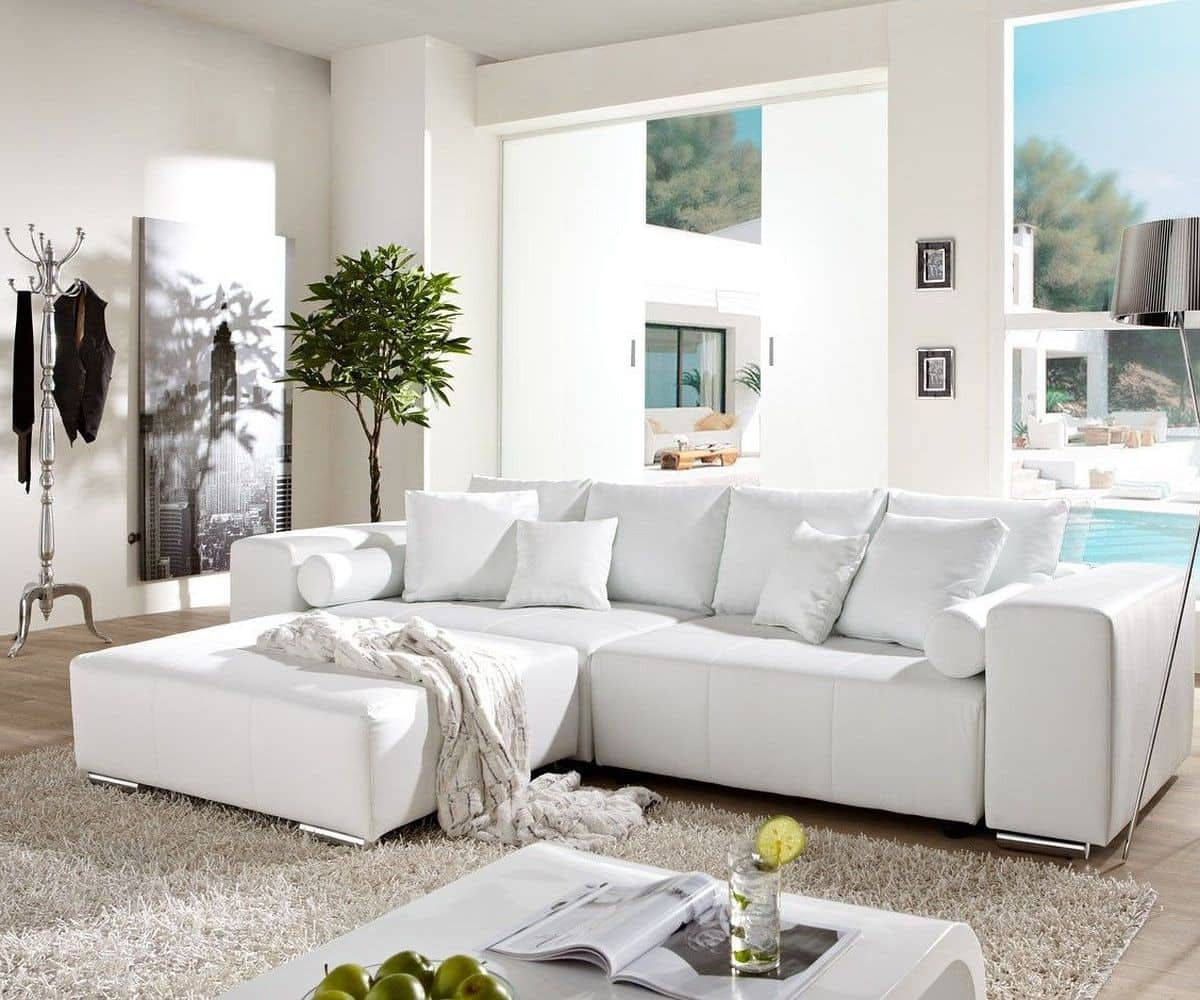 big sofa marbeya 290x110cm weiss mit schlaffunktion m bel sofas big sofas. Black Bedroom Furniture Sets. Home Design Ideas