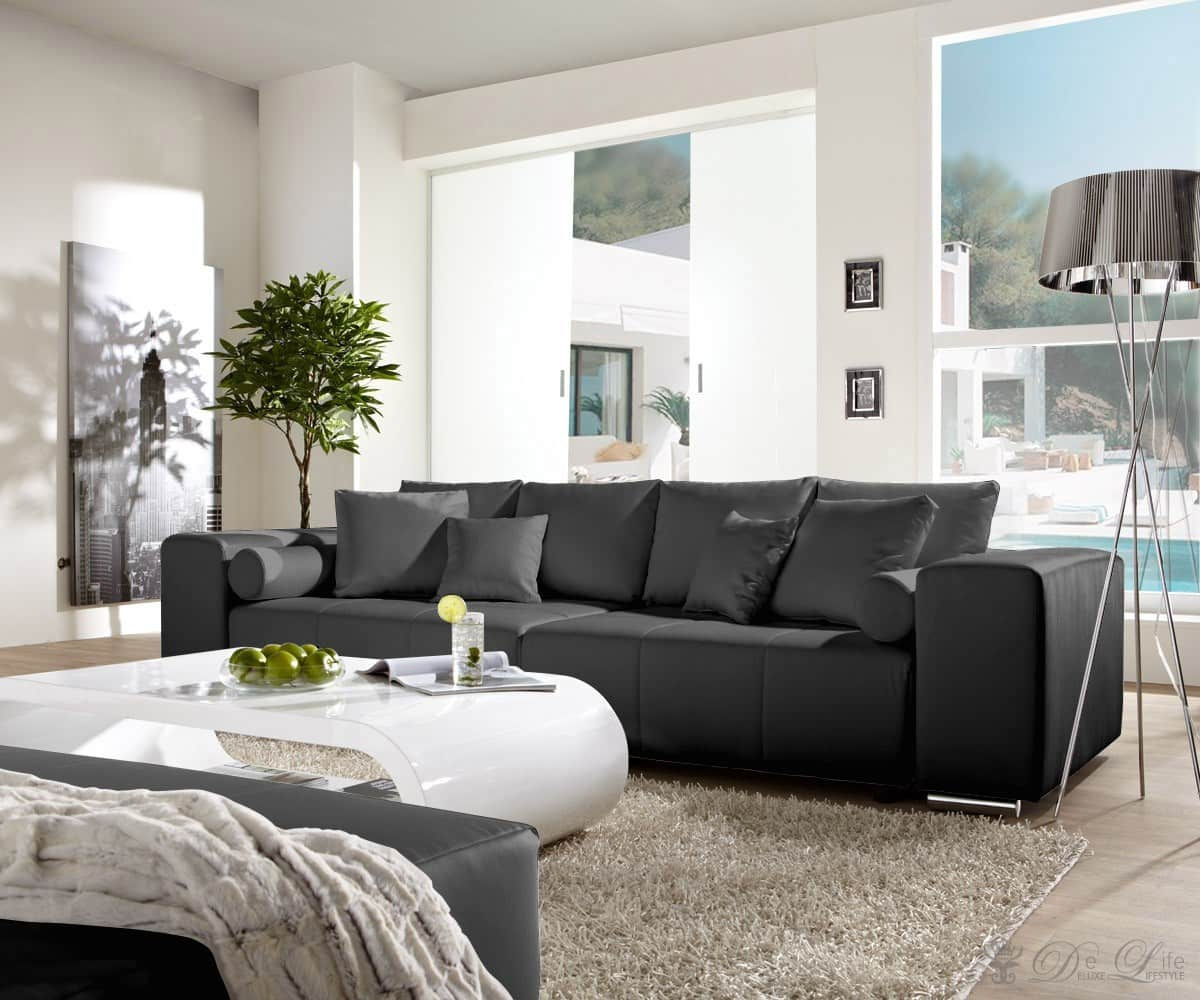 big sofa xxl marbeya 290x110 schwarz matt couch mit. Black Bedroom Furniture Sets. Home Design Ideas