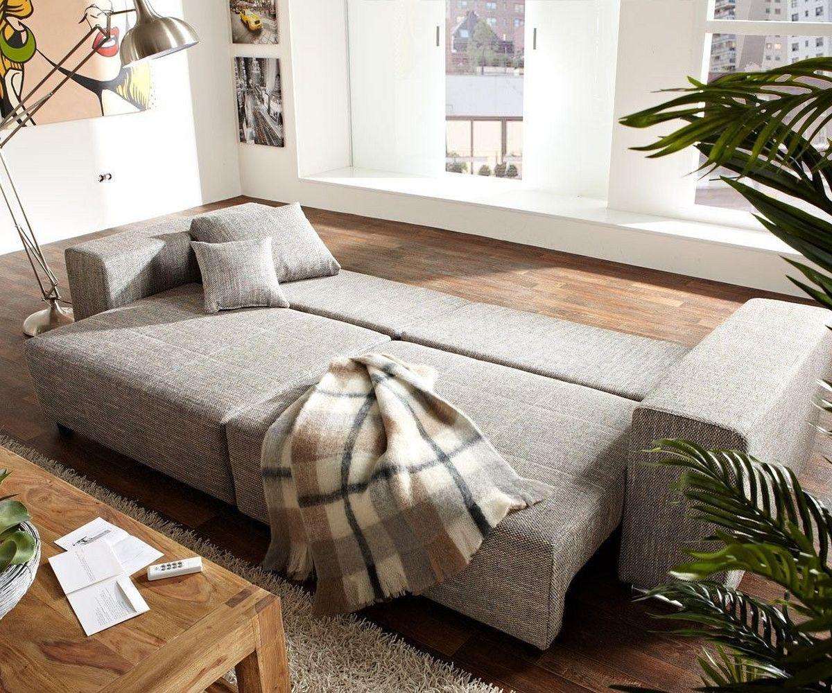 Big sofa marbeya 290x110 cm hellgrau mit schlaffunktion for Couch zum ausklappen