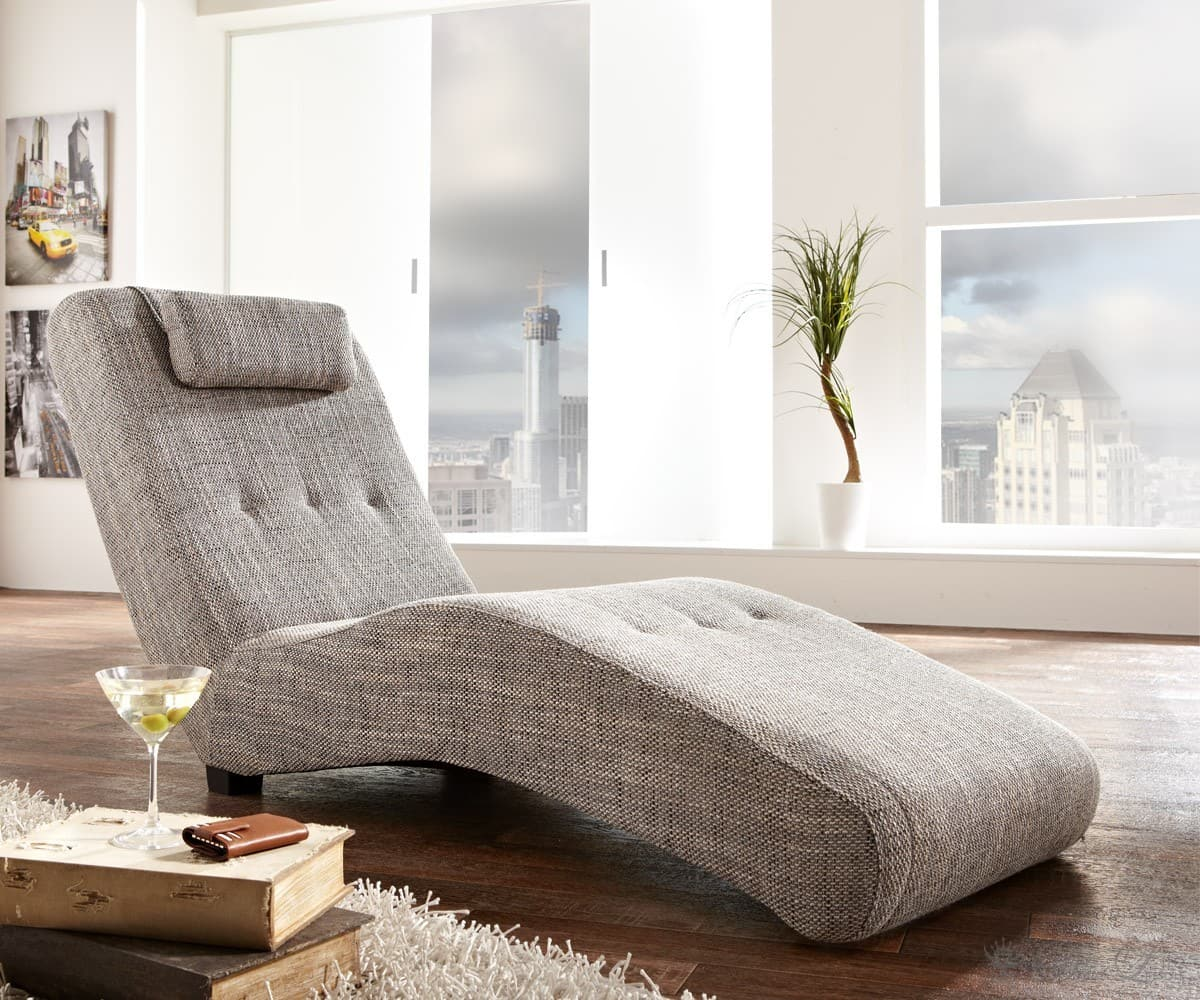 relaxliege thure 62x180cm hellgrau chaiselongue mit nackenkissen relax liege neu ebay. Black Bedroom Furniture Sets. Home Design Ideas
