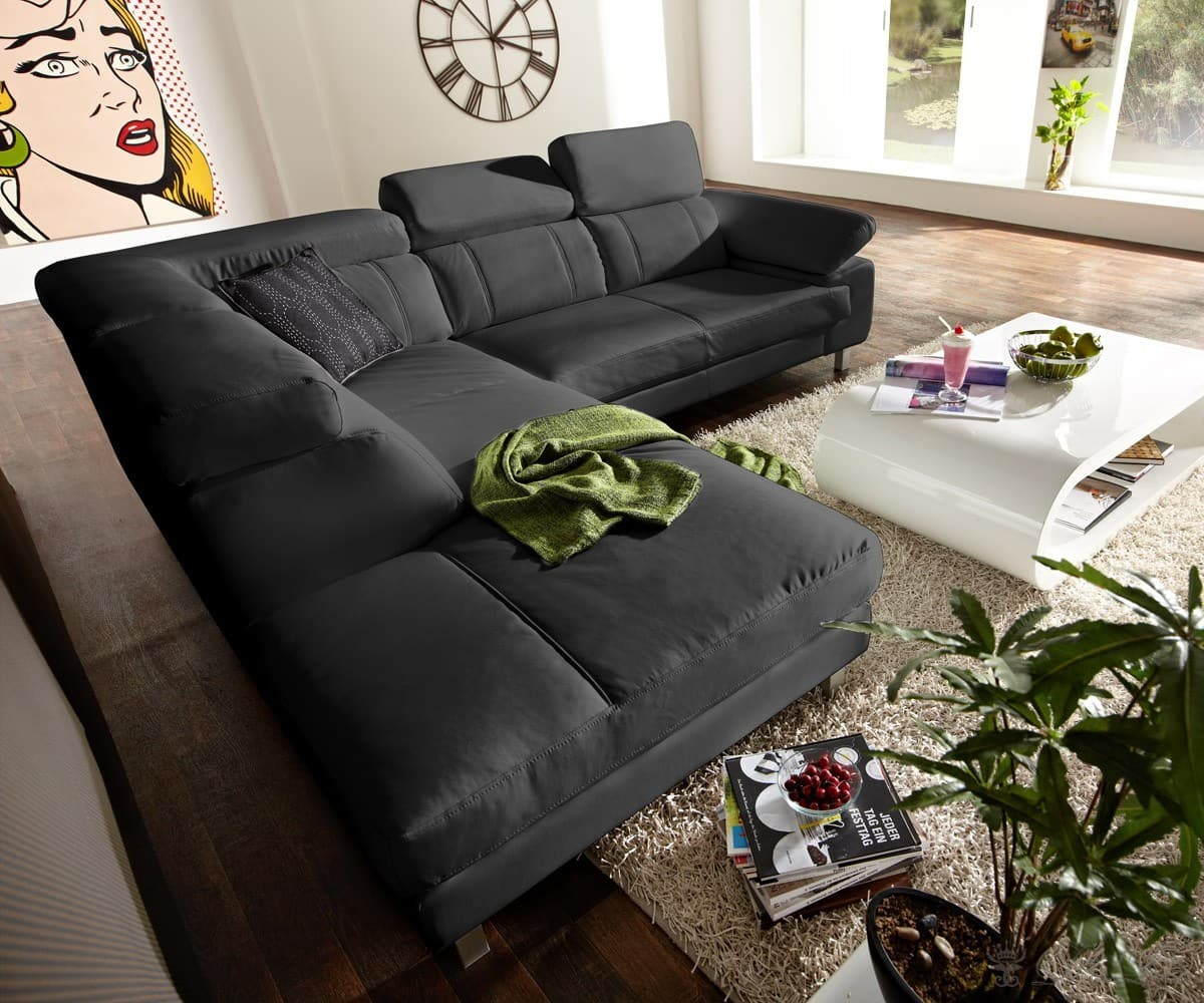ecksofa morrigan 265x235 cm schwarz couchgarnitur ottomane links wohnlandschaft ebay. Black Bedroom Furniture Sets. Home Design Ideas