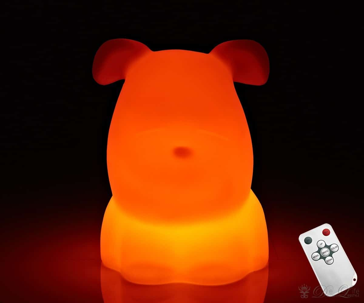 led lampe hund dex 26x32cm weiss tischlampe mit. Black Bedroom Furniture Sets. Home Design Ideas